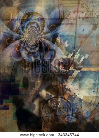 Modern digital art. Geometric abstract and fractal. 3D rendering stock photo
