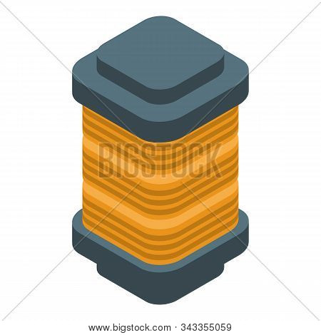 Copper coil icon. Isometric of copper coil vector icon for web design isolated on white background stock photo