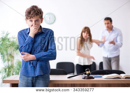Divorcing family trying to divide child custody stock photo