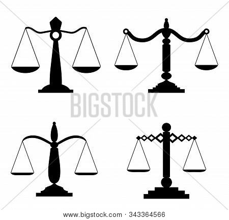 Equilibrium scales. Trading or law scales icons. Vector lawyers scales, compare symbols, balance and balancing signs isolated on white background. Court concept vector illustration. stock photo