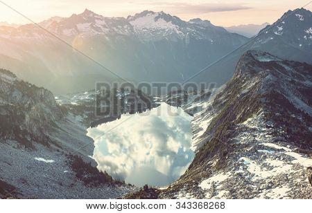 Beautiful mountain peak in  North Cascade Range, Washington / USA stock photo