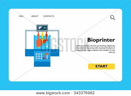 Vector icon of bioprinter modeling liver. Bioprinting, biotechnology, implantation. 3d-printing concept. Can be used for topics like innovation, surgery, science stock photo