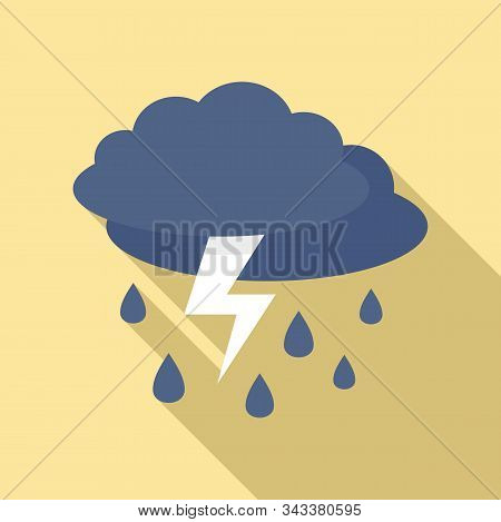 Weather Thunderstorm Icon. Flat Illustration Of Weather Thunderstorm Vector Icon For Web Design