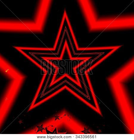 Bright red star fractal abstract design on black background. 3D illustration. Fractal art. stock photo