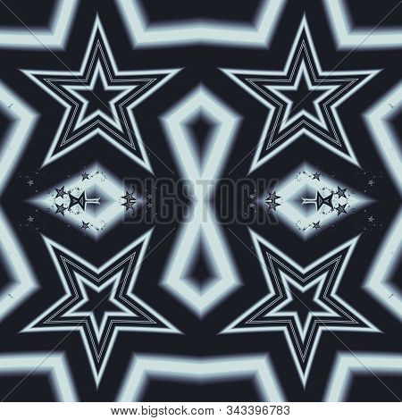 Seamless white star fractal abstract design on blue background. 3D illustration. Fractal art. stock photo
