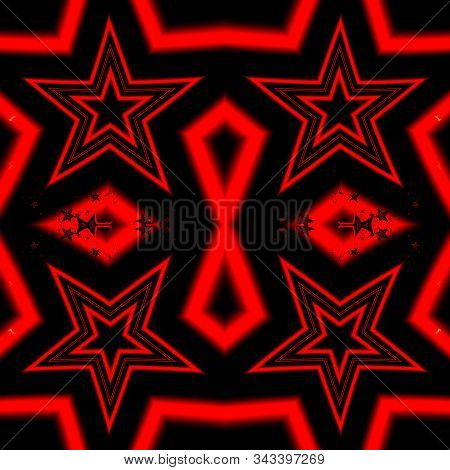 Seamless red star fractal abstract design on black background. 3D illustration. Fractal art. stock photo