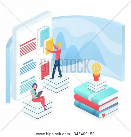 Online education isometric vector illustration. Modern university. Access to information. Research and learning. Studying courses. Virtual platform. Internet library cartoon conceptual design element stock photo