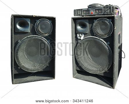old powerful stage concerto audio speakers and amplifier isolated on white background stock photo