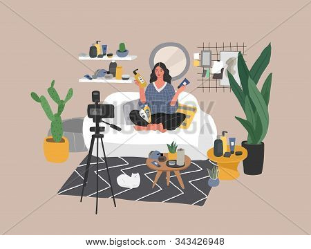 Beauty blogger streaming. Woman review cosmetics sit in scandinavian home and creating content for blog or live broadcasting. Makeup, skincare, fashion tutorial. Blogging or vlogging. Cartoon vector stock photo