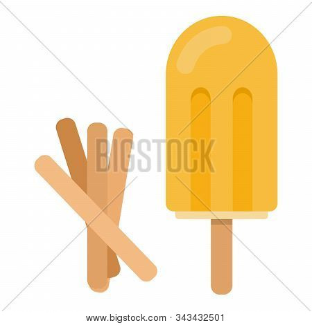 Yellow ice cream on a stick with wooden ice cream sticks flat isolated stock photo