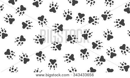 Pet Paw Vector Seamless Pattern With Flat Icons. Black White Color Animal Tracks Texture. Dog, Cat F