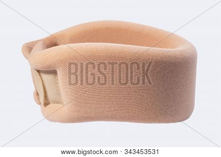 isolated on white background collar for neck injury. Tire for immobilization of the cervical vertebrae in case of a disease of the cervical spine stock photo