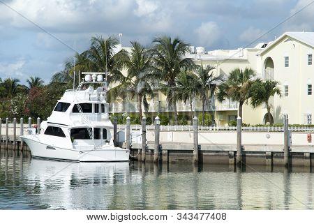 The white yacht moored in the marina on Paradise Island (Bahamas). stock photo