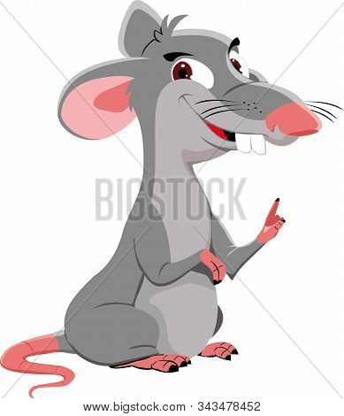 The gray rat points a finger. Vector illustration of the year of the rat for advertising and websites. stock photo