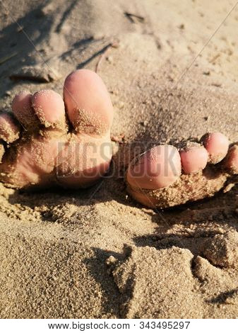Children's toes in the sand close-up.Stuck baby feet in sand on sea beach on sunny day.Baby fingers in the sand stock photo