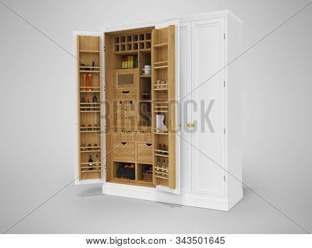3D rendering wooden organizer kitchen cabinet on gray background with shadow stock photo
