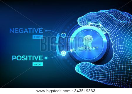 Positive or negative thinking. Feel happy or unhappy. Good or bad attitude. Wireframe hand turning a knob to switch from negative to positive mindset. Psychology Concept. Vector illustration. stock photo
