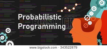 Probabilistic programming coding software line of code probability predicting decision stock photo