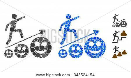 Happy man career growth composition of round dots in various sizes and color tones, based on happy man career growth icon. Vector round dots are grouped into blue composition. stock photo