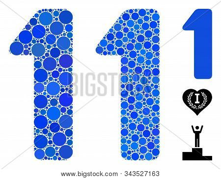 1 digit mosaic of round dots in different sizes and color tints, based on 1 digit icon. Vector dots are combined into blue mosaic. Dotted 1 digit icon in usual and blue versions. stock photo