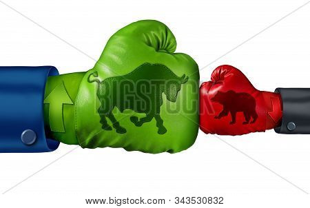 Stock market bullish economics and investing in a bull economic period as a financial and finance battle with strong positive market forces with 3D illustration elements. stock photo