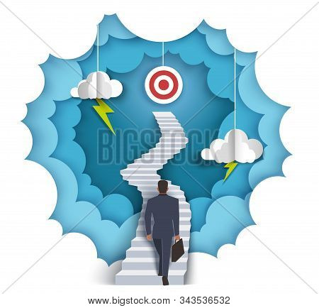 Successful goal achievement, vector paper cut illustration stock photo