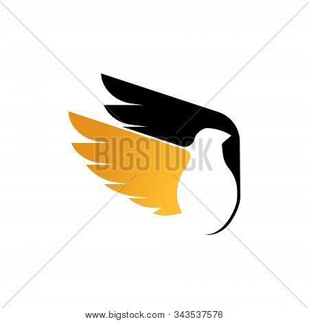 bird logo. flying bird logo. line art Bird logo icon. modern bird logo design concept . nature bird logo illustration. line bird logo isolated on dark blue color, Vector logo template stock photo