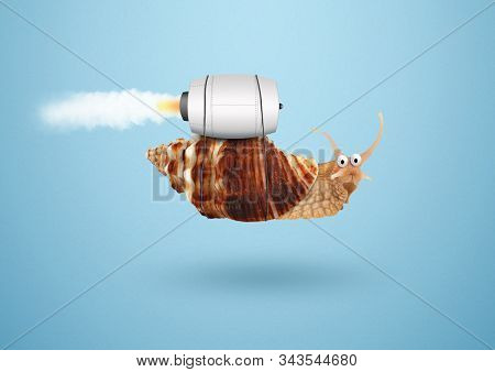 Acceleration speed and success concept, snail with jet stock photo