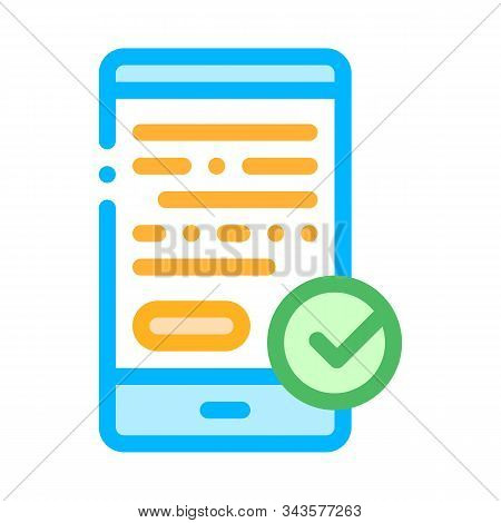 Smartphone Display And Approved Mark Vector Icon Thin Line. Approved Sign On Document File, Protection Shield And Opened Carton Box Concept Linear Pictogram. Contour Illustration stock photo