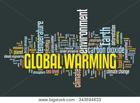 Global warming word cloud. Climate change concept. Earth climate catastrophe. stock photo