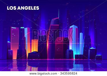 Los Angeles skyline with neon illumination. Night city architecture, modern megapolis with glowing skyscrapers near waterfront, old film with lines and pixel noise effect. Cartoon illustration stock photo