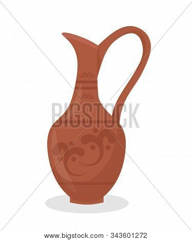 Ancient clay amphora flat vector illustration. Old ceramic clayware, stoneware. Antique greek oil, wine jug. Traditional hellenic crockery, earthenware with decorative ornament. Pottery craft stock photo