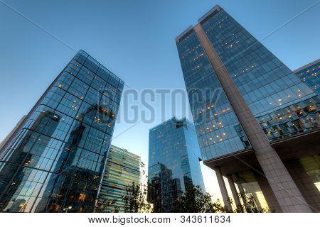 Office buildings at financial district known as Nueva Las Condes in Rosario Norte Street, Las Condes, Santiago de Chile stock photo