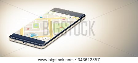 GPS Navigation Concept. Gps Tracking Map. Track Navigation on Street Maps, Navigate Mapping Technology. A Single Mobile Phone or Smartphone on White Surface. Close Up View. 3D Render. stock photo