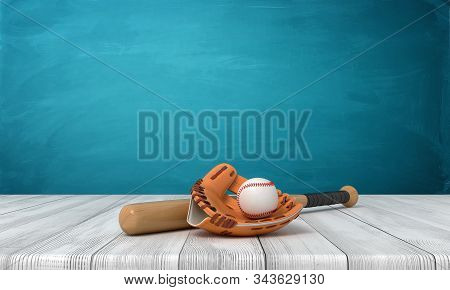 3d rendering of baseball bat, ball and gloves on white wooden floor and dark turquoise background stock photo