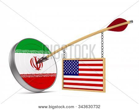 Relationship between America and Iran on white background. Isolated 3D illustration stock photo