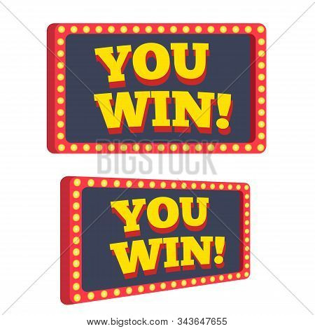 You win text announce on retro or vintage light bulb frame banner vector illustration flat cartoon, idea of success achievement or jackpot prize message clipart stock photo