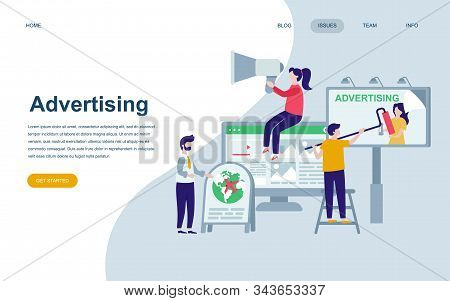 Modern flat web page design template of Advertising and Promotion decorated people character for website stock photo