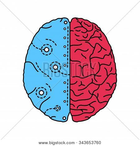 Artificial brain color line icon. Software and hardware with cognitive abilities similar to those of human brain.Pictogram for web page, mobile app, promo. UI UX GUI design element. Editable stroke. stock photo