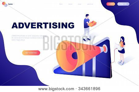 Modern flat design isometric concept of Advertising and Promotion decorated people character stock photo