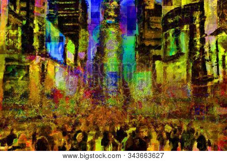 Abstract modern painting with words cloud. Times Square. 3D rendering stock photo