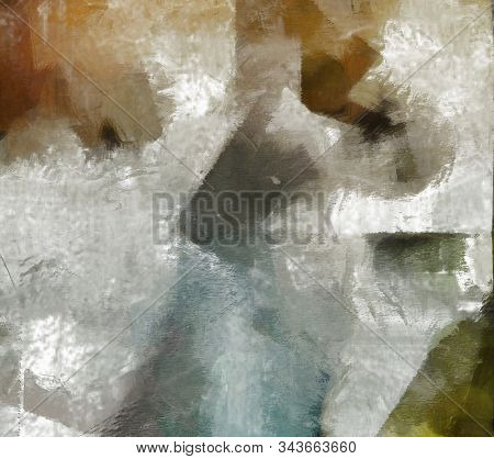 Muted Abstract Painting. Canvas. 3D rendering stock photo