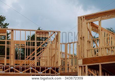 Framing beam under construction work of beam wooden house stock photo