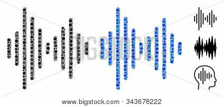 Audio signal mosaic of round dots in variable sizes and color tinges, based on audio signal icon. Vector round dots are composed into blue mosaic. Dotted audio signal icon in usual and blue versions. stock photo