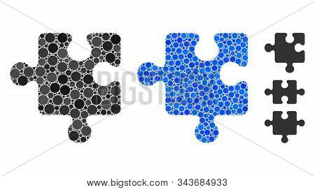 Puzzle detail mosaic of filled circles in different sizes and color hues, based on puzzle detail icon. Vector filled circles are organized into blue collage. stock photo