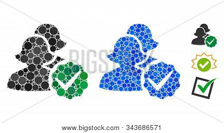 For women mosaic of circle elements in various sizes and color tones, based on for women icon. Vector circle elements are organized into blue illustration. stock photo