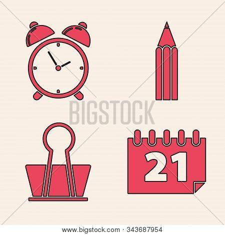 Set Calendar, Alarm clock, Pencil and Binder clip icon. Vector stock photo