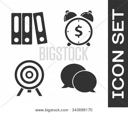 Set Speech bubble chat, Office folders with papers and documents, Target and Alarm clock with dollar symbol icon. Vector stock photo