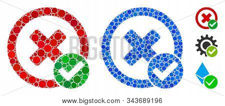 True negative composition of round dots in variable sizes and shades, based on true negative icon. Vector round dots are united into blue mosaic. Dotted true negative icon in usual and blue versions. stock photo