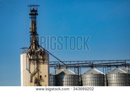 Detail of a grain elevator connected to metal stockpile silos at an agrarian facility in Alberta, Canada. Against a blue sky with copy space above stock photo